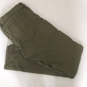 J.Crew factory green moto skinnies. Size 25